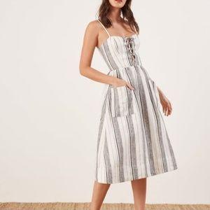 Reformation Ellen linen midi dress stripe